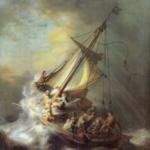 Jesus in the Storm; boat